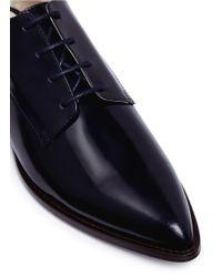 Delpozo - Black Floral Appliqué Leather Flats - Lyst