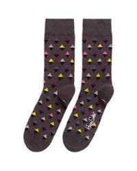Happy Socks | Gray Mini Diamond Socks for Men | Lyst