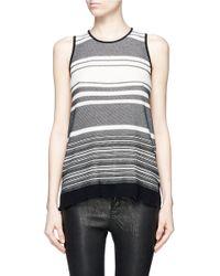 Vince - Gray Stripe Pima Cotton Knit Tank Top - Lyst