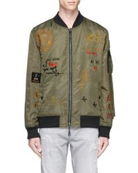 Haculla | Green 'bombs Over Brooklyn' Reversible Slogan Embroidered Bomber Jacket for Men | Lyst