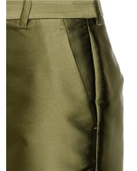 3.1 Phillip Lim - Green Satin Flat Front Shorts - Lyst