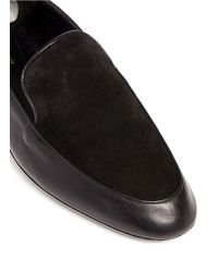 Robert Clergerie - Black 'fani' Suede Vamp Lambskin Leather Loafers - Lyst