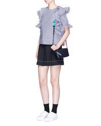 Anya Hindmarch | Blue 'circle' Mini Interlocking Strap Leather Crossbody Bag | Lyst