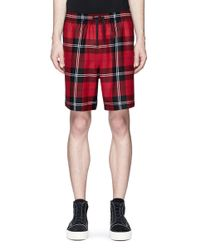 Alexander Wang | Red Check Plaid Wool Flannel Shorts for Men | Lyst