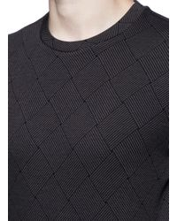 Armani - Gray Diamond Jacquard Slim Fit Sweater for Men - Lyst