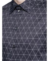 Armani - Blue Diamond Print Cotton Shirt for Men - Lyst