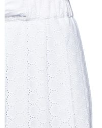 Cedric Charlier - White Pleated Broderie Anglaise Midi Skirt - Lyst