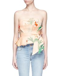Johanna Ortiz - Blue 'dominica' Embellished Floral Strapless Top With Obi Belt - Lyst