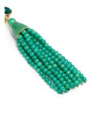 Kenneth Jay Lane - Green Beaded Tassel Drop Clip Earrings - Lyst