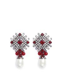 Kenneth Jay Lane | Red Glass Crystal Plate Faux Pearl Drop Clip Earrings | Lyst