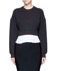 Alexander Wang   Black Contrast Hem Chunky Rib Knit Sweater   Lyst
