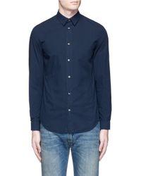Maison Margiela - Blue Garment Dyed Cotton Shirt for Men - Lyst