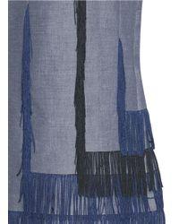 Facetasm - Blue Asymmetric Fringe Hopsack Skirt - Lyst