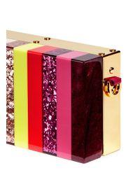 Sophie Hulme - Multicolor 'compton' Glitter Rainbow Stripe Perspex Box Clutch - Lyst