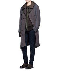 Ziggy Chen - Blue Asymmetric Hem Reversible Double Breasted Coat for Men - Lyst