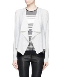 Vince - Gray Drape Front Cropped Cashmere Cardigan - Lyst