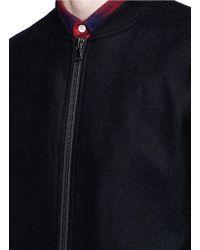 TOPMAN - Black Felted Long Bomber Jacket for Men - Lyst
