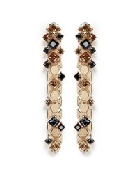 Lanvin | Metallic 'chain Lumiere' Crystal Honeycomb Chain Drop Earrings | Lyst