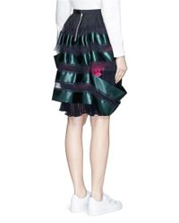 Sacai - Blue Open Stripe Chiffon Plissé Pleat Skirt - Lyst