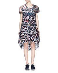 Sacai - Multicolor Souvenir Scarf Print Lasercut Floral Dress - Lyst