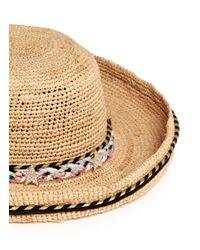 Venna - Natural Rope Band Curled Brim Raffia Hat - Lyst