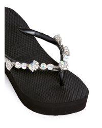 ae8f452565c77a Uzurii  jenny  Crystal Wedge Flip Flops in Black - Lyst
