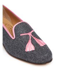 Stubbs & Wootton - Gray Tassel Embroidery Flannel Slip-ons - Lyst