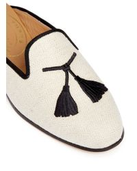 Stubbs & Wootton - Natural Tassel Embroidery Hopsack Slippers - Lyst