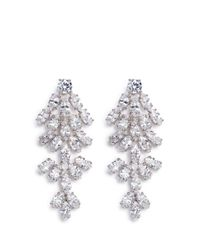CZ by Kenneth Jay Lane | Metallic Leaf Cubic Zirconia Clip Earrings | Lyst