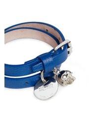 Alexander McQueen - Blue Double Wrap Skull Leather Bracelet - Lyst