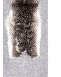 Franco Ferrari - Gray 'pan Di Zucchero' Fur Panel Cashmere-silk Scarf - Lyst