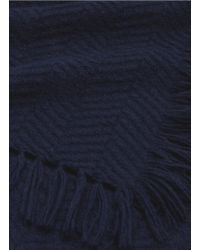 Franco Ferrari - Blue 'abel' Basketweave Fringe Cashmere Scarf - Lyst