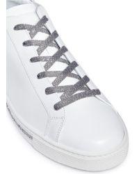Rene Caovilla | White Strass Pavé Calfskin Leather Sneakers | Lyst