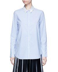 MUVEIL   Blue 3d Flower Embellished Collar Stripe Shirt   Lyst