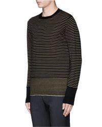 Lanvin - Black Stripe Merino Wool Sweater for Men - Lyst