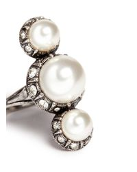 Lanvin - White Inset Crystal Glass Pearl Ring - Lyst