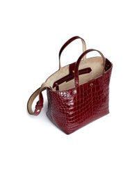 Elizabeth and James - Red 'eloise' Croc Embossed Leather Tote - Lyst