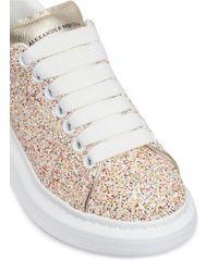 Alexander McQueen - Chunky Outsole Coarse Glitter Metallic Leather Sneakers - Lyst