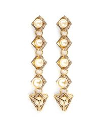 Erickson Beamon | White 'bermuda Triangle' Glass Pearl Drop Earrings | Lyst