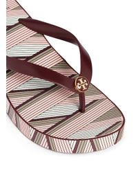 Tory Burch - Multicolor 'thandie' Print Wedge Flip Flops - Lyst