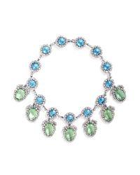 Kenneth Jay Lane | Blue Oval Pendant Glass Crystal Pavé Station Necklace | Lyst