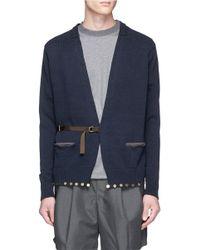 Kolor | Blue Half Belt Embellished Cotton Cardigan for Men | Lyst