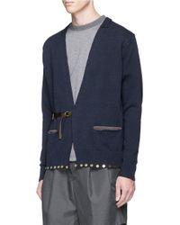 Kolor - Blue Half Belt Embellished Cotton Cardigan for Men - Lyst