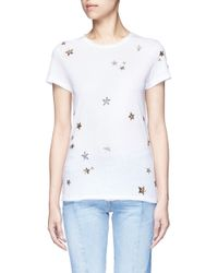 Valentino - White Embellished Metallic Star Jersey T-shirt - Lyst