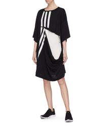 Y-3 - Black 3-stripes Cutout Layered Detchable Long T-shirt Dress - Lyst