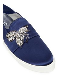 Pedder Red - Blue 'daly' Strass Bee Satin Slip-ons - Lyst