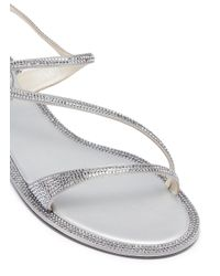 Rene Caovilla - Metallic Strass Satin Sandals - Lyst