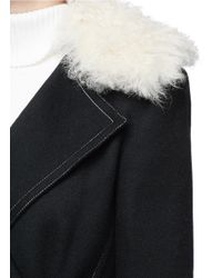 Helmut Lang - Black Lambskin Shearling Collar Wool-cashmere Coat - Lyst