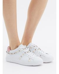Ash - White 'play S' Strass Stud Leather Sneakers - Lyst