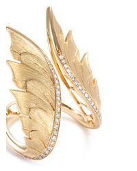 Stephen Webster - Metallic Diamond 18k Yellow Gold Feather Open Ring - Lyst